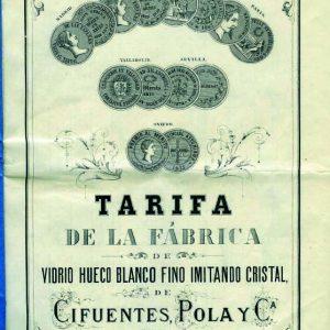 Tarifa de la fábrica Pola y Cía. Asturias. MORILLA, Alonso, Arte e Industria en Gijón (1844-1912): la fábrica de vidrios de Cifuentes, Pola y Cía. Museo de Bellas Artes de Asturias, 1991.